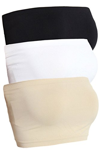 Themogan Women'S Basic Seamless Bra Top Bandeau Black/White/Khaki, One Size