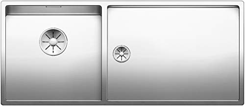 Blanco Claron 400/550-T-U, Kombination aus Spülbecken und Tropfbereich (Spüle links) für den Unterbau, Unterbaubecken, InFino-Auslauf, Edelstahl Seidenglanz; 521601