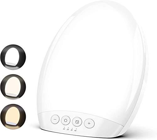 TECBOSS Lampe de Luminothérapie 10000 Lux Sans-UV LED avec Luminosité Réglable, 4 Réglages de Minuterie avec Fonction Mémoire, Format Compact