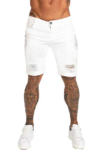 GINGTTO Mens Denim Shorts Ripped High Waisted for Men White Jeans Shorts 30