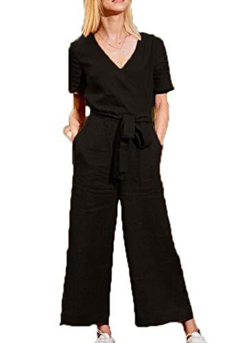 Dames wijde pijpen, wijde jumpsuits, alles-in-één harems playsuits met zakken