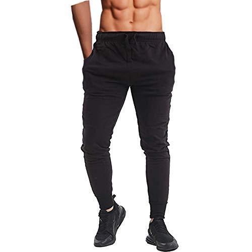 Pantalones ajustados para hombre, para correr, ir al gimnasio o entrenar, con tobillos ceñidos, de forro polar, informal Negro Negro ( 41-44.5