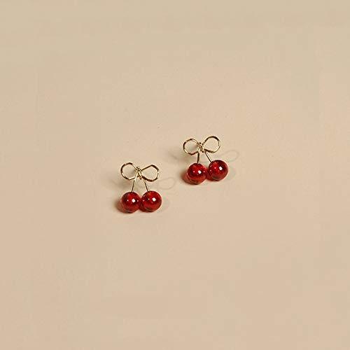 Vintage Fun Cherry Red Garnet 925 Sterling Silver 2 Color Stud Pendientes para Mujer Joyería De Moda De Lujo Navidad