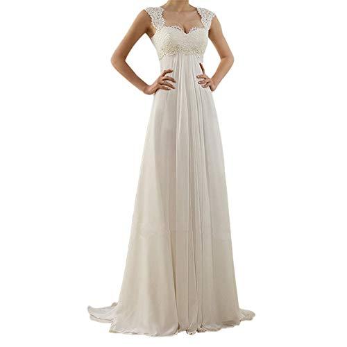 Dicomi Brautkleid Lang Hochzeitskleider Spitze Strand Damen Brautmode Chiffon V-Ausschnitt Rückenfrei Weiß M