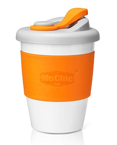 MOCHIC CUP Reusable Coffee Cup with Lid Portable Travel Mug with Non-Slip Sleeve BPA Free Dishwasher and Microwave Safe Friendly Coffee Mug (Orange,12oz)