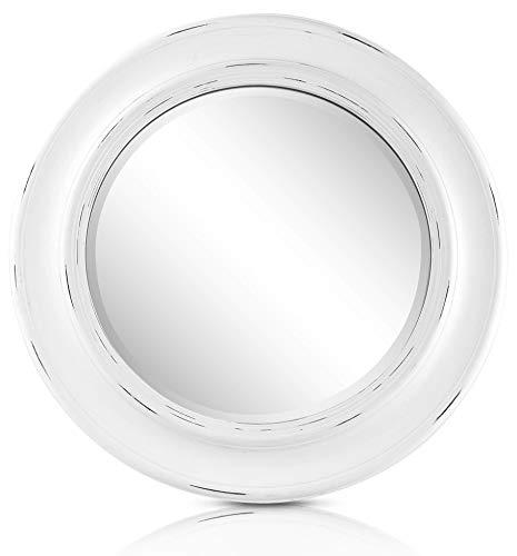 Specchio in Stile Shabby Chic Rotondo - Legno Massello - Fatto a Mano - Grandi - 66 cm - Bianco Vintage