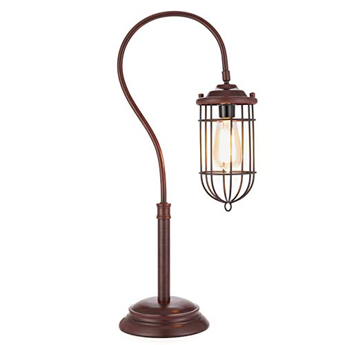 CO-Z Industrial Table Lamp Metal, Rustic Farmhouse Desk Lamp with Cage Style Shade, Vintage Edison Table Lamp for Living Room, Bedroom, Office