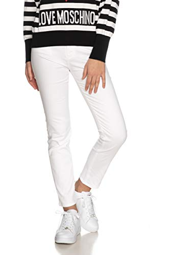 Moschino Gabardine Skinny Trousers with Tone-Painted Hardware_Hearts Embroidered on The Back Pocket. Pantalones Informales, Blanco óptico, 30 para Mujer