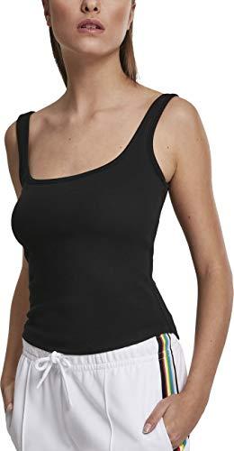 Urban Classics Ladies Wide Neck Top Camiseta Deportiva de Tirantes, Negro (Black 00007), Medium para Mujer