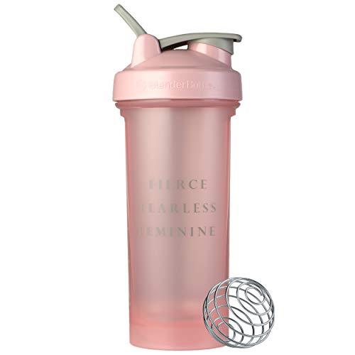 BlenderBottle Motivational Quote Classic V2 Shaker Bottle, 28oz, Fierce Fearless Feminine