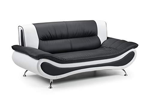 Honeypot - Sofa - Napoli - Faux Leather - 3 Seater - Black/White