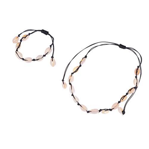 EXCEART Shell Bracelet Necklace Set Adjustable Boho Braided Rope Choker Handmade Beach Anklet Wristbands Jewelry Set for Women Girl Friend Family Gift Black