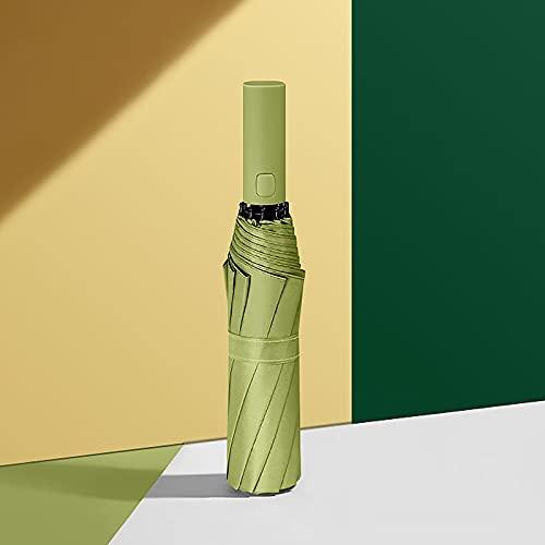 QAZW Ombrello Automatico Parasole, Ombrellone da Viaggio Pieghevole a Foglia Protezione Solare a Doppio Strato Protezione UV UPF 50+ Ombrellone Resistente alla Pioggia,Green1-8bones
