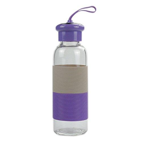 Verre Bouteille d'eau Boisson Bouilloire en verre d'eau Coupe Portable verre d'eau pour les activités de plein air intérieur (Violet)
