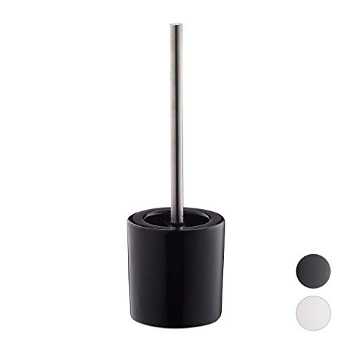 Relaxdays, schwarz WC Garnitur Keramik, runder Klobürsten-Halter, wechselbarer Bürstenkopf, Bad-Set, HxD 38,5 x 12,5 cm