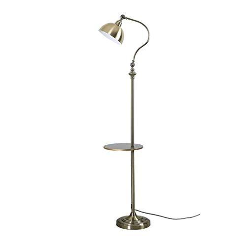 Lámpara de pie ajustable con mesa Lámpara de lectura de pie de cobre retro con 180 & deg;Cuello de cisne ajustable, lámpara de luz de lectura para dormitorio, oficina, sala de estar, blanco cálido