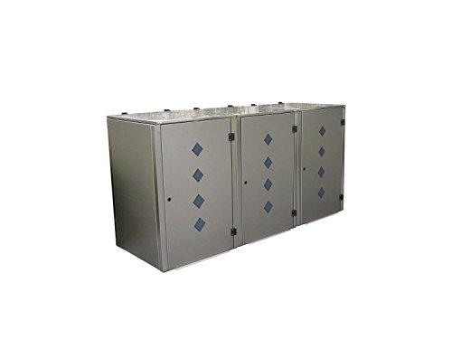 Mülltonnenbox Edelstahl, Modell Eleganza Raut als Dreierbox für drei 240 Liter Tonnen - 2