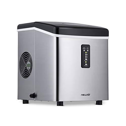 NewAir Portable Ice Maker 28 lb. Daily - Countertop Compact Design - 3 Size Bullet Shaped Ice - AI-100SS - Stainless Steel