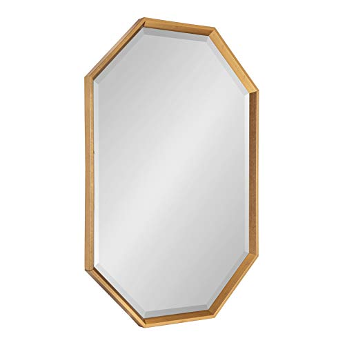 Kate and Laurel Calter Large Elongated Octagon Frame Wall Mirror, 25.5 x 37.5, Gold