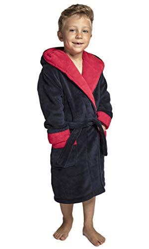 Envie Flauschiger Kinderbademantel/Kinder-Morgenmantel, mit Kapuze (158-164 (13-14), Navy-rot)