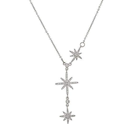 Jewellery Bracelets Bangle For Womens Exquisite North Star Pendant Necklace Women Cubic Chain Choker Necklace -Platinum