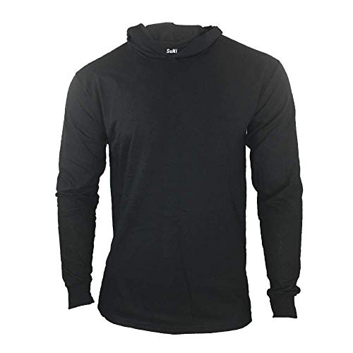 Men Construction Long Sleeve Work T Shirts with Hood (Black, X-Large)