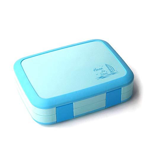Juego de cubiertos Cajas de almuerzo Bento Box Estudiante Caja de almuerzo Flip Multi Grid Division Blanco Cuello de almuerzo que se puede usar en cualquier lugar ( Color : Blue , Size : 21X16X6CM )