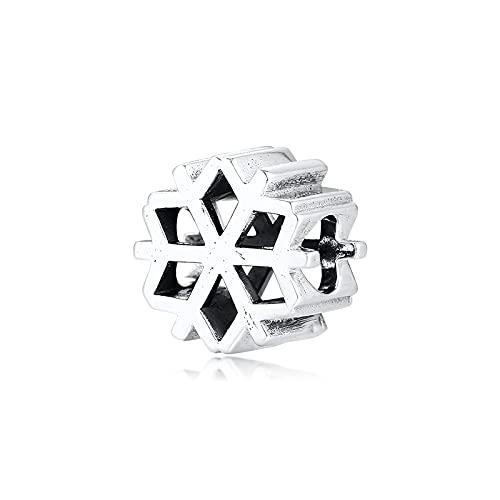 LILANG Pulsera de joyería Pandora 925, se Adapta a Collares Naturales, Cuentas de Copo de Nieve pulidas, Encanto de Plata esterlina para Mujeres, Regalos DIY