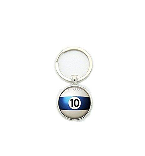 Numéro 10 de la piscine porte-clés de tennis de table de billard balle 10 porte-clés tendance hommes bijoux faits à la main cadeau pour meilleur homme