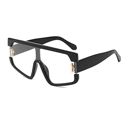 WQZYY&ASDCD Gafas de Sol Remaches Oversize Mujeres Contraste De Color Personalidad Gafas De Sol Cuadradas De Una Pieza Gafas De Montura Grande De Moda Uv400-Clear