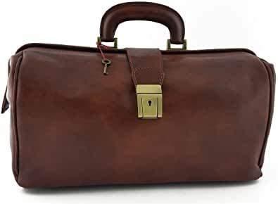 Bolso médico / médico unisex de piel auténtica 100% color marrón – Fabricado en Italia – Artesanani Toscane