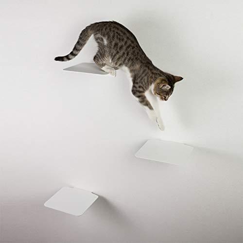 LucyBalu Katzentreppe Steps mit Korkauflagen 3er Set I Individuelle Kletterwand für Katzen bis 10 kg I Kletterstufen mit 18 x 18 cm je Stufe (Weiß mit Kork)