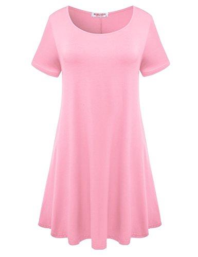 BELAROI Womens Comfy Swing Tunic Short Sleeve Solid T-Shirt Dress (M, Pink)
