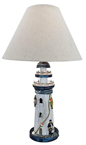 magicaldeco Maritime Tischlampe aus Holz, Shabbylook- Leuchtturm