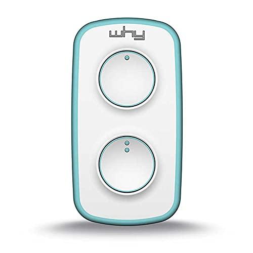 WHY EVO mini telecomando cancello universale rolling code bianco/azzurro, radiocomando multifrequenza apricancello 4 tasti