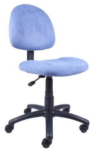 Boss Office Products Perfect Posture Delux Microfiber Task Chair without Arms in Blue