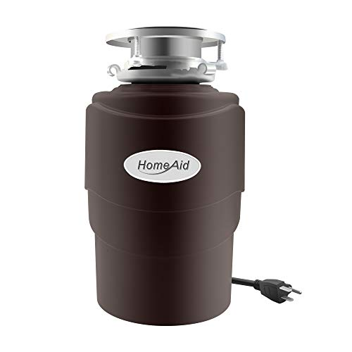 Garbage Disposal 3/4 HP HomeAid Quiet Food Waste Disposer with Power Cord for Kitchen Sink AC Motor Unit Continuous Feed Plug In Stainless Steel Grind 3/4 Horsepower