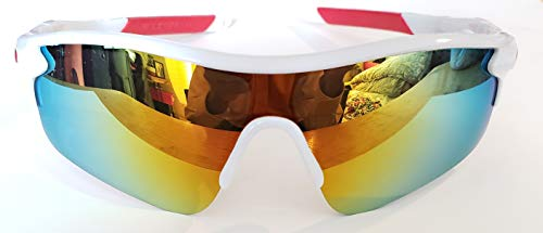 White Polarized, Tinted and Mirrored Unisex Sports Sunglasses Riding, Driving and Sports like Skiing, Cycling, Baseball, Running, Golfing, Hunting, etc. (White and Red - Mirrored Lens)