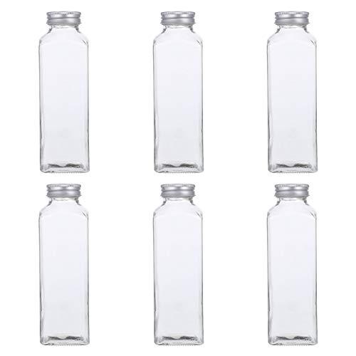 Hemoton Botellas de Vidrio para Bebidas Botellas de Leche Botellas de Agua Transparente de 420Ml con Tapas a Prueba de Fugas Envases de Vidrio para Almacenar Jugos Té Frío Bebidas de