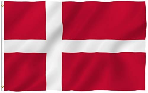 Anley Fly Breeze 90 x 150 cm Bandera Dinamarca - Colores Vivos y Resistentes a Rayos UVA - Bordes Reforzados con Lona y Doble Costura
