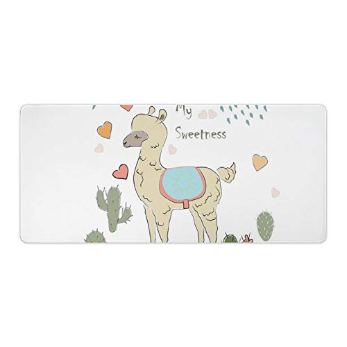 Extended Gaming Mouse Pad with Stitched Edges Large Keyboard Mat Non-Slip Rubber Base Abstract Alpaca in The Rain with Cactuses Brush Strokes Effect Illustration Desk Pad for Gamer Office 16x35 Inch