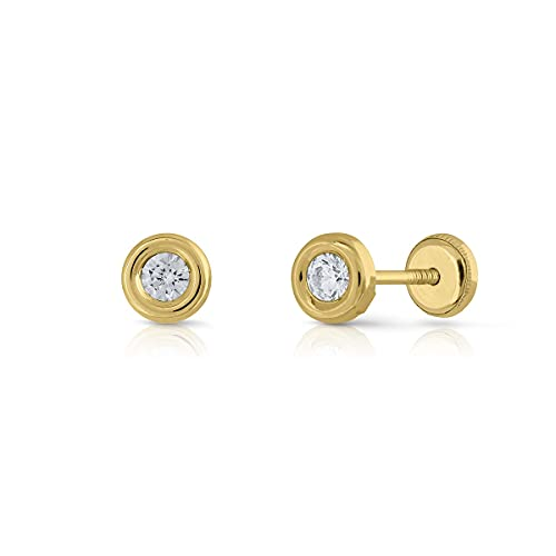 Pendientes Oro de Ley Certificado. redondo bicelado. Niña/Mujer. circón 3.00 mm cierre de rosca de seguridad (1-3384-3)