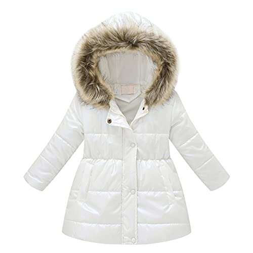 Little Kids Girls Winter Solid Cool Wool Padded Thick Pockets Fur Hooded Thernal Jacket 2-11 Years