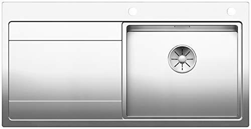 BLANCO DIVON II 5 S-IF, Küchenspüle für normalen und flächenbündigen Einbau, Einbauspüle, Becken rechts, mit InFino-Ablaufsystem und Ablauffernbedienung, Edelstahl Seidenglanz; 521660