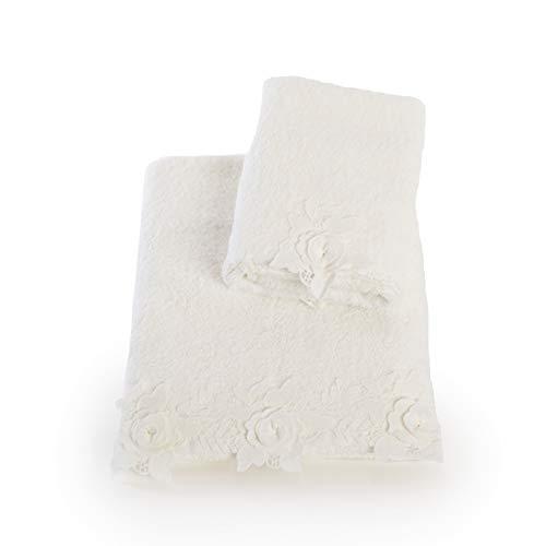 Juego de 2 toallas de cara y invitados de suave rizo de puro algodón con rosas de macramé (leche)