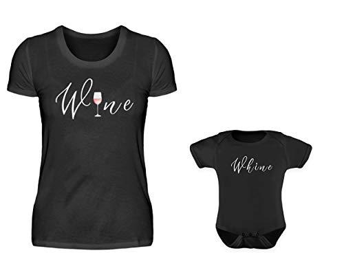 Mamma baby kropp späckhuggare t-shirt partner-look set med 2 vin och vader rund hals vinmamma son eller dotter partner-outfit – svart – en storlek