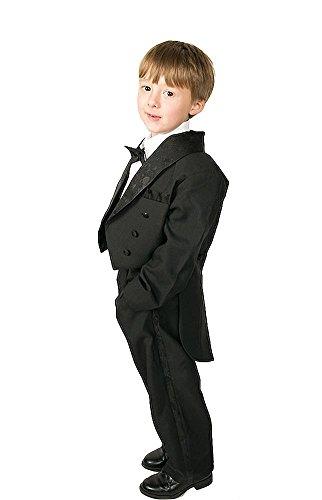 Lito Angels - Traje de esmoquin para niño (5 piezas, formal) Negro Negro (con Cummerbund) 6 años