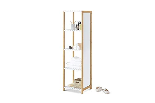 LIFA LIVING Moderne Spiegelkast, Witte Badkamerkast, Houten Opbergkast, Schoenenkast met 4 Planken voor Slaapkamer, Badkamer, Woonkamer, 35 x 45 x 160 cm