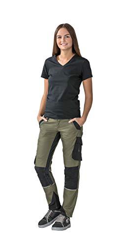 Planam Norit Damen Bundhose, Farbe: Oliv/Schwarz, Größe: 36
