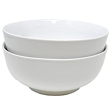 Set of 2 Bright White Porcelain Bowls (8.5 inches) for Pho, Ramen Noodles and Menudo, by Umami Tableware
